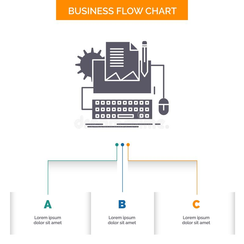 Type Writer, paper, computer, paper, keyboard Business Flow Chart Design with 3 Steps. Glyph Icon For Presentation Background. Template Place for text.. Vector stock illustration