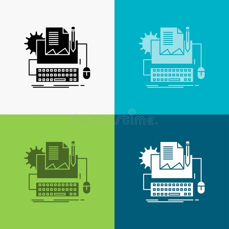 Type Writer, paper, computer, paper, keyboard Icon Over Various Background. glyph style design, designed for web and app. Eps 10 stock illustration