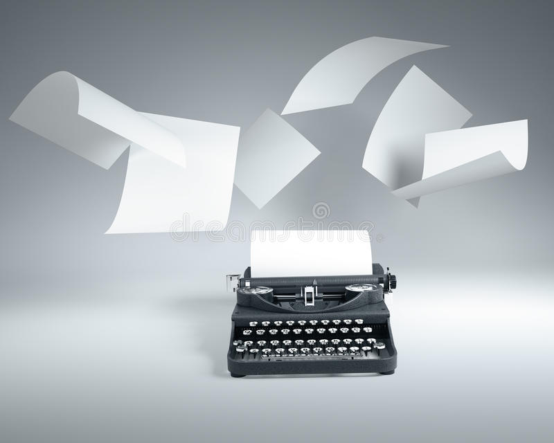 Download Type Writer With Paper Sheets Flying Stock Illustration - Image: 35139502