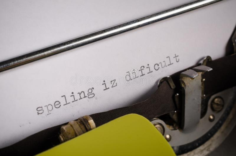 Typed text with spelling mistakes. Old typewriter with text that contains spelling mistakes, a concept stock image