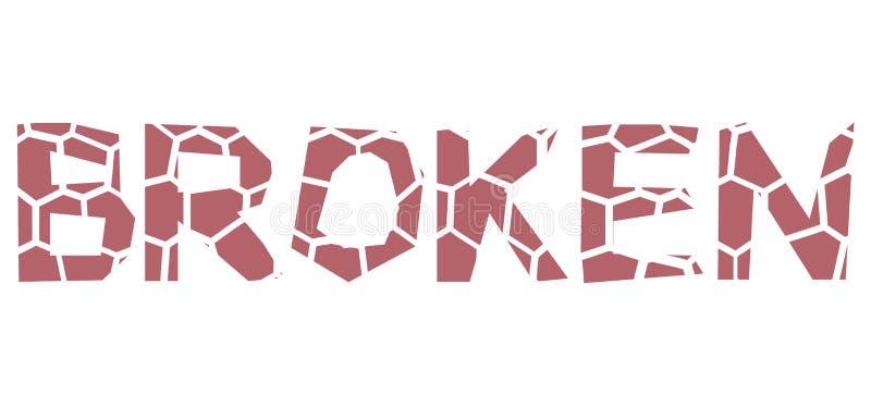 Typeface design broken. Vector isolated typeface design broken vector illustration