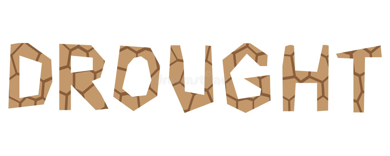 Typeface design drought vector illustration