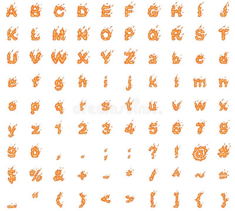 Typeface projekta ogień ilustracja wektor