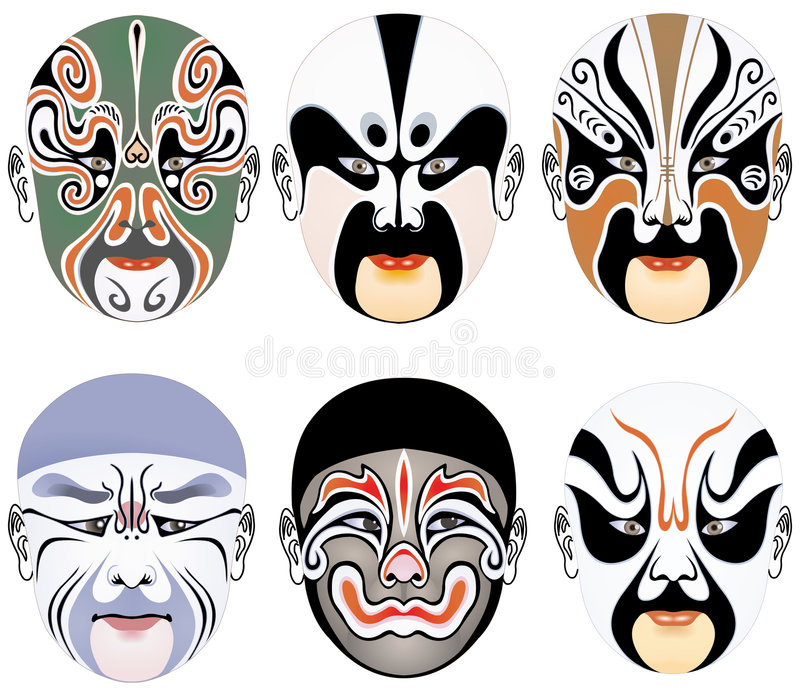 Typen der Gesichtsverfassung in der Peking-Oper stellten 10 ein vektor abbildung