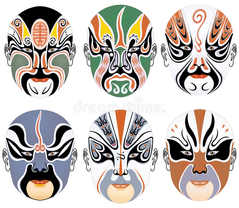 Typen der Gesichtsverfassung in der Peking-Oper stellten sieben ein lizenzfreie abbildung
