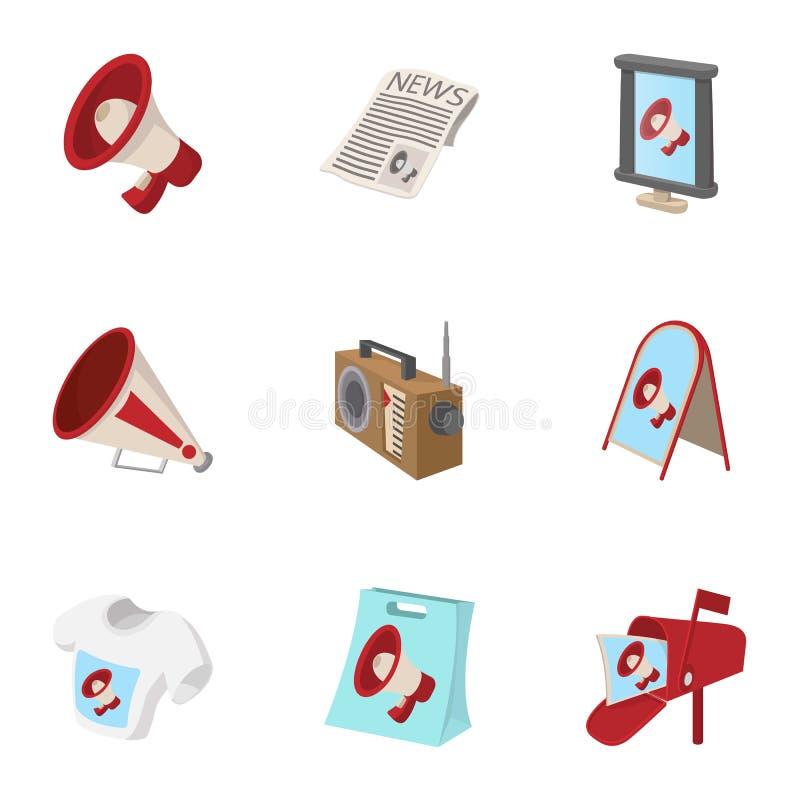 Typer av advertizingsymboler ställde in, tecknad filmstil vektor illustrationer