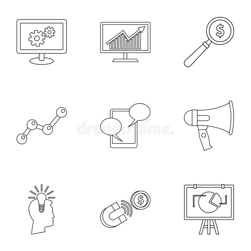 Typer av advertizingsymboler ställer in, skisserar stil vektor illustrationer