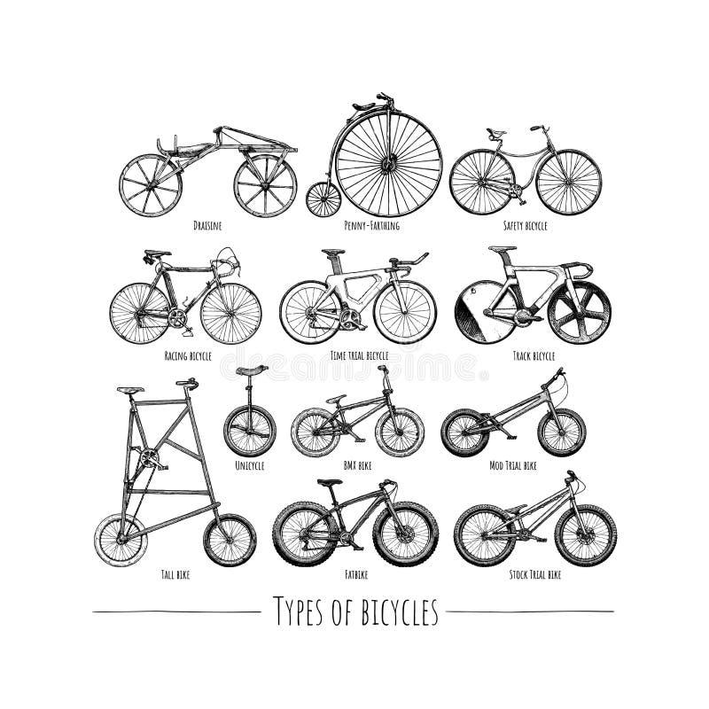 Typer av cyklar stock illustrationer