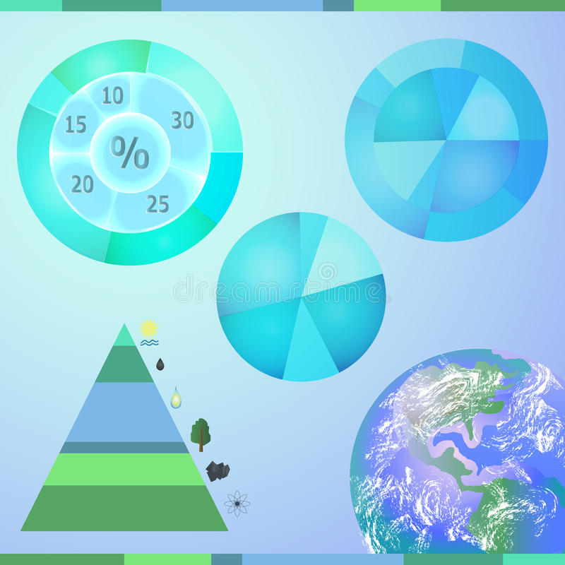 Typer av energiresurser royaltyfri illustrationer