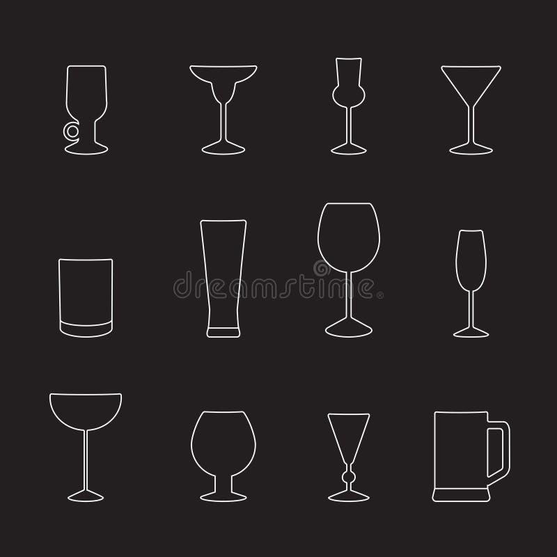 Typer av exponeringsglas för olika drinkar, en uppsättning av översiktssymboler Vektorillustration på svart royaltyfri illustrationer