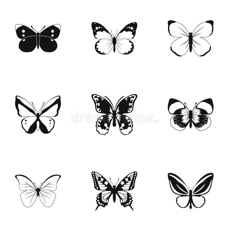 Typer av fjärilssymboler ställde in, enkel stil stock illustrationer