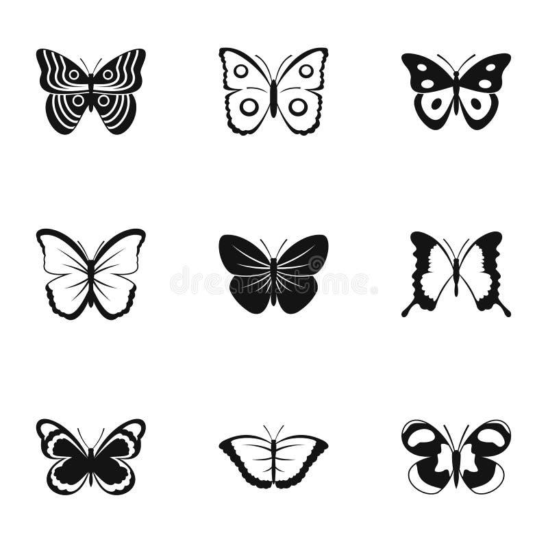 Typer av fjärilssymboler ställde in, enkel stil vektor illustrationer