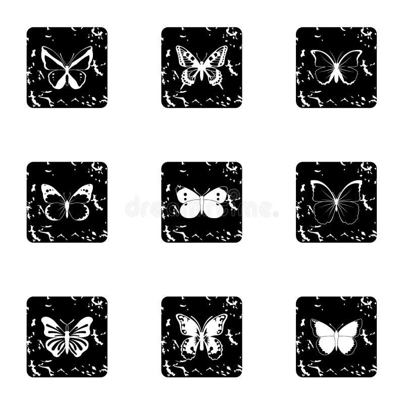Typer av fjärilssymboler ställde in, grungestil stock illustrationer