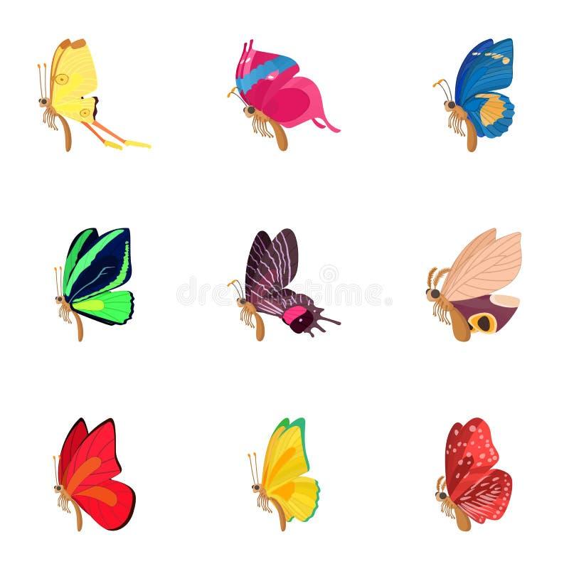 Typer av fjärilssymboler ställde in, tecknad filmstil vektor illustrationer