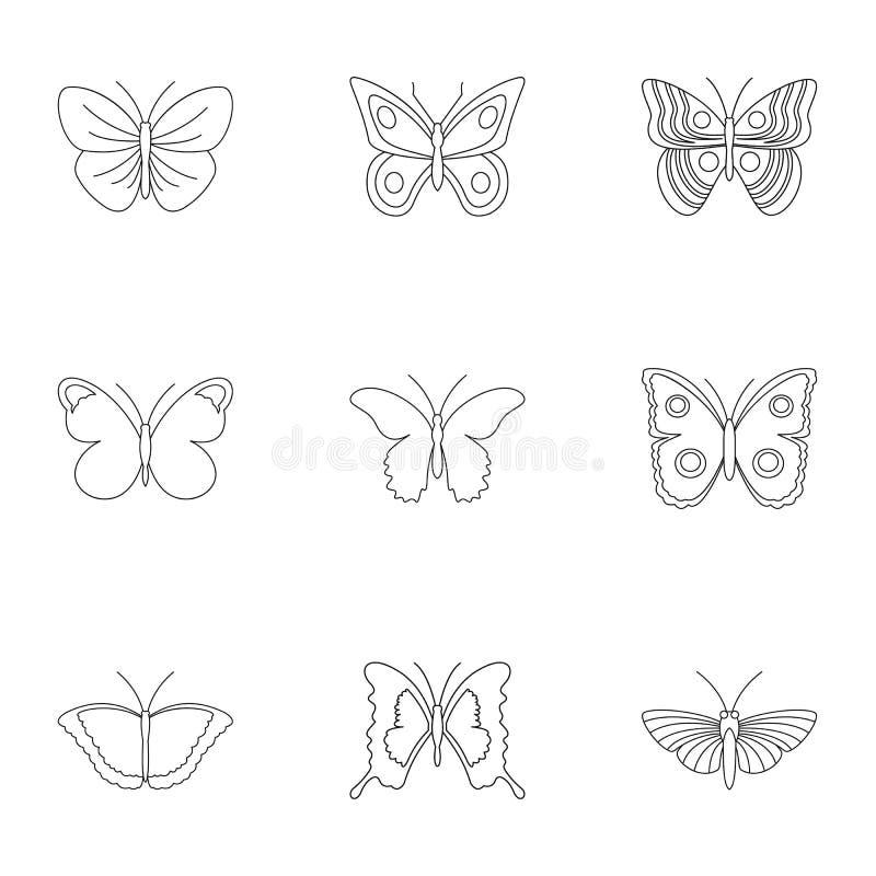 Typer av fjärilssymboler ställer in, skisserar stil vektor illustrationer