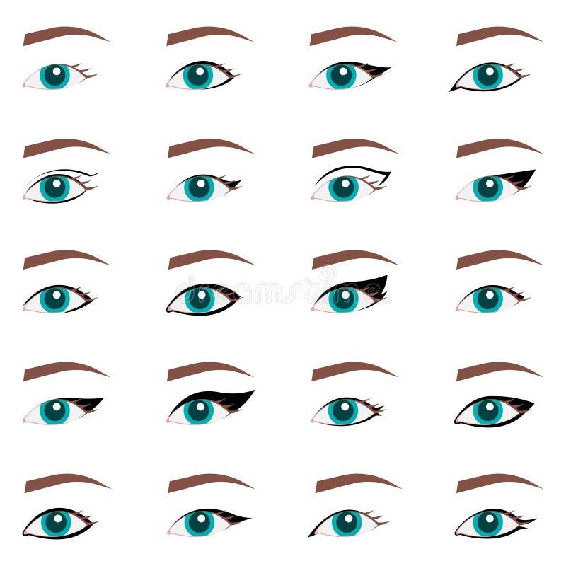 Typer av ?gonmakeup Cat Eyeliner Tutorial Stilfullt smink Vogue skönhetartikel, tidskrift, bok vektor illustrationer