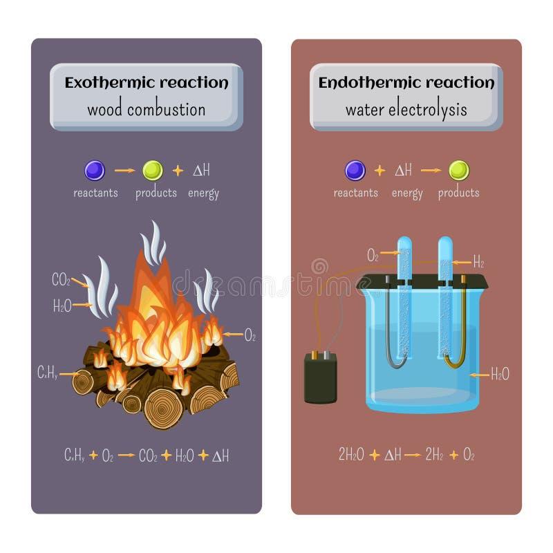 Typer av kemisk reaktion Exothermic - wood förbränning och endothermic - bevattna elektrolys royaltyfri illustrationer