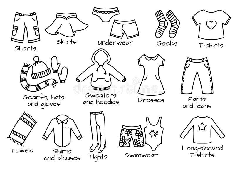 Typer av kläder, vektorsymboler vektor illustrationer