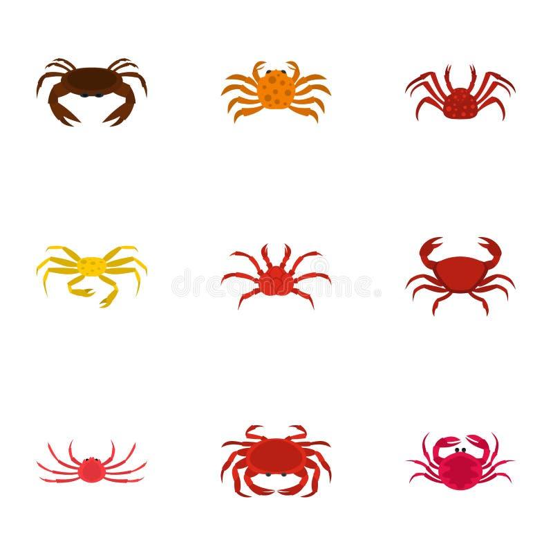 Typer av krabbasymboler ställde in, tecknad filmstil stock illustrationer
