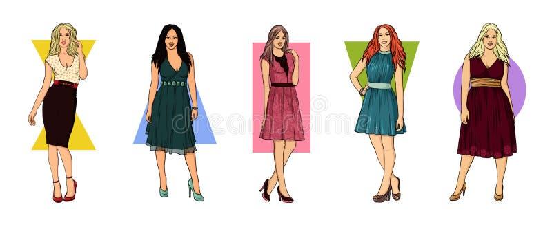 Typer av kvinnadiagram Typer av kvinnadiagram Ställ in av Shape för den kvinnliga kroppen typer: Timglas päron, rektangel, triang stock illustrationer