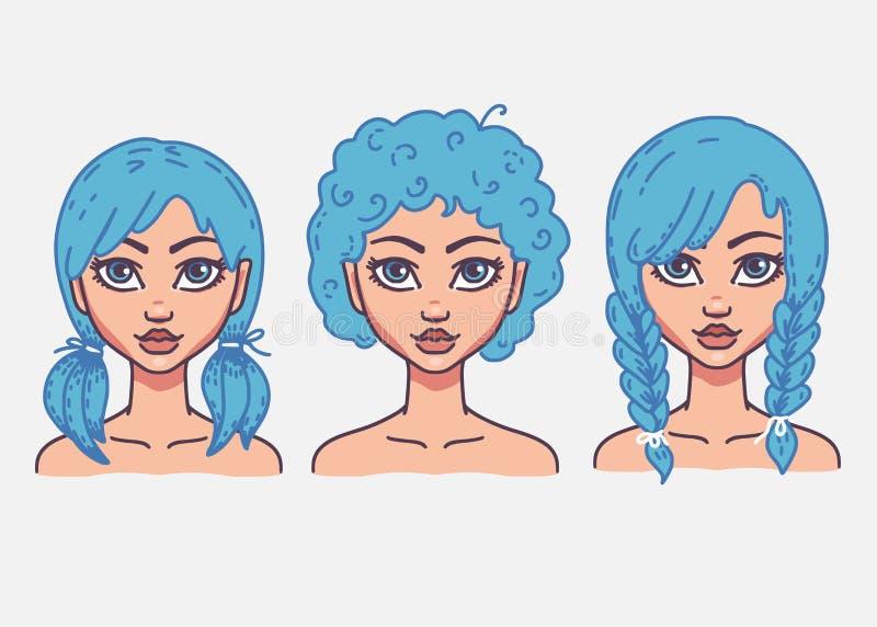 Typer av kvinnliga frisyrer vektor illustrationer