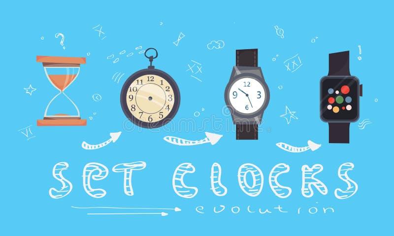 Typer av larmklockor, tidmätare och klockor ställde in Tecknad filmstil evolution royaltyfri illustrationer