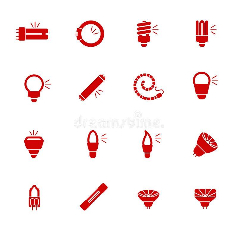 Typer av ljusa kulor för olika typer av lightings som skårasymboler stock illustrationer