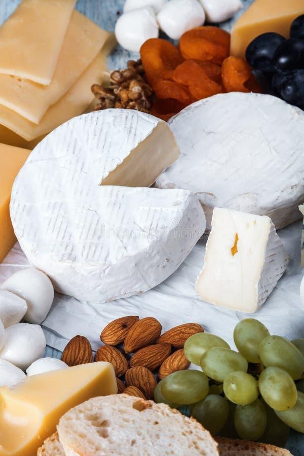 Typer av olika ostmozzarella, brun, roquefort, Maasdam etc. royaltyfri foto