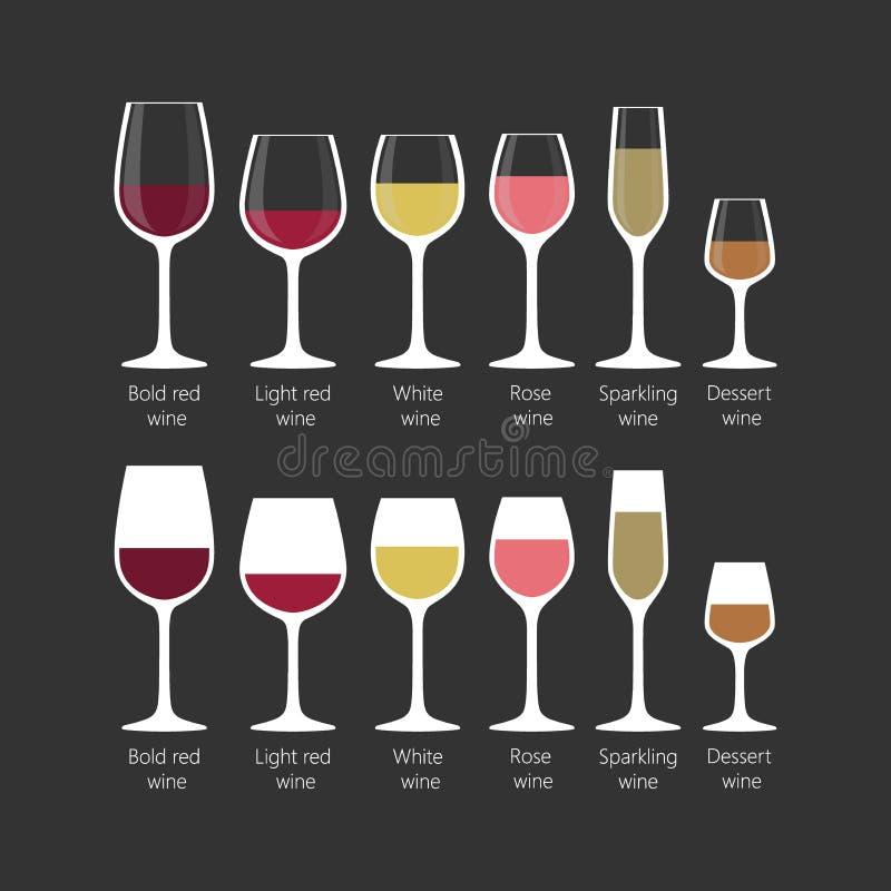 Typer av uppsättningen för vinexponeringsglas Symboler för exponeringsglas för vitt vin på svart bakgrund vektor illustrationer