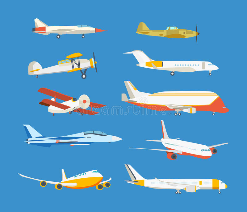 Types of airplane: passenger, civil, airbus, military, biplane, airplane high-rise. Set of commercial and private airplanes, view side. Types of airplane vector illustration