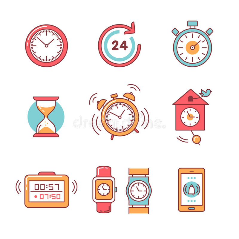 Types of alarms clocks, timers and watches set. Thin line art icons. Flat style illustrations isolated on white stock illustration