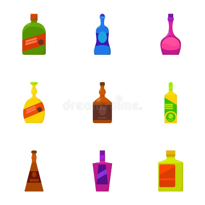 Types of alcohol bottle icons set, cartoon style. Types of alcohol bottle icons set. Cartoon set of 9 types of alcohol bottle vector icons for web on white vector illustration