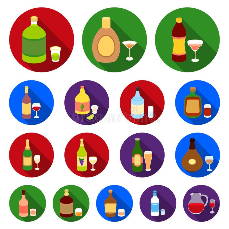 Types of alcohol flat icons in set collection for design. Alcohol in bottles vector symbol stock web illustration. royalty free illustration