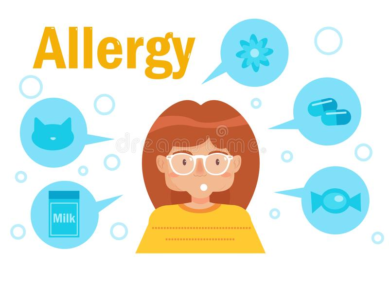 Types of allergies. Vector. Cartoon. Isolated art on white background. Flat vector illustration