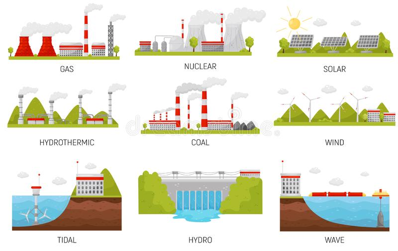 Alternative energy sources. Hydroelectric, wind, nuclear, solar and thermal power plants. Flat vector design stock illustration