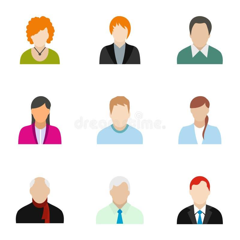 Types of avatar icons set, flat style royalty free illustration