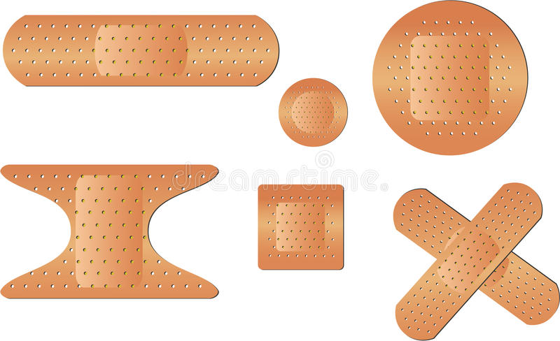 Types of Bandages. Set of adhesive strip bandages. EPS 10 file for this illustration with no open paths royalty free illustration