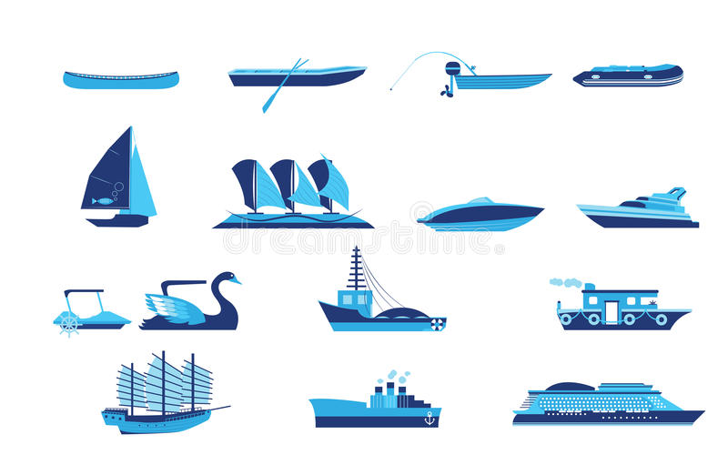 Types of boat and ship transportation stock vector for Fishing boat types