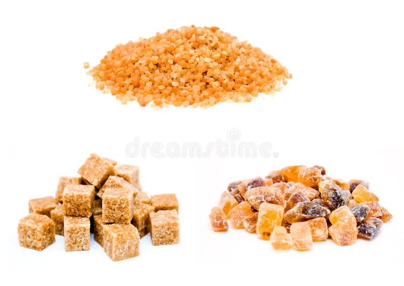 Types of brown sugar royalty free stock image