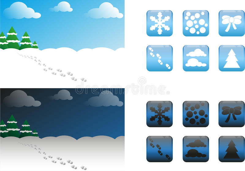 2 types of Christmas backgrounds and buttons / icons stock images