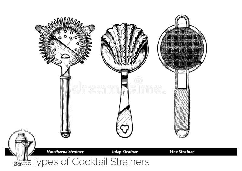 Illustration of cocktail strainers types vector illustration