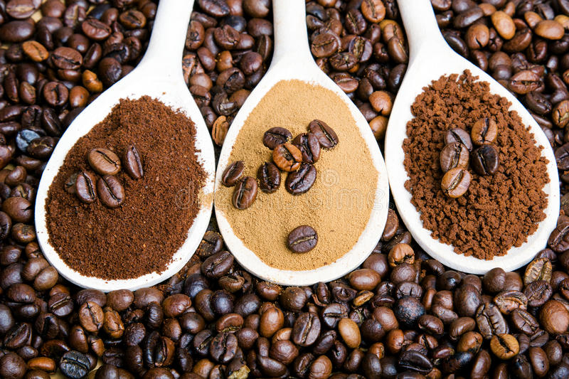 Types of coffee: grounds, instant, powder, coffee beans stock photography
