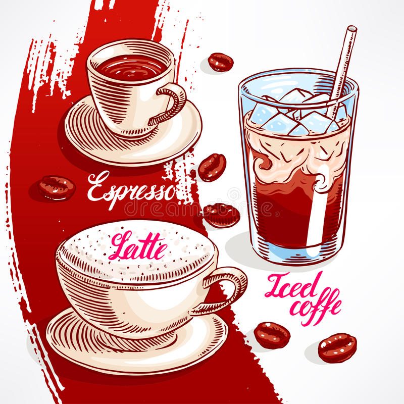 Types of coffee - 2 vector illustration