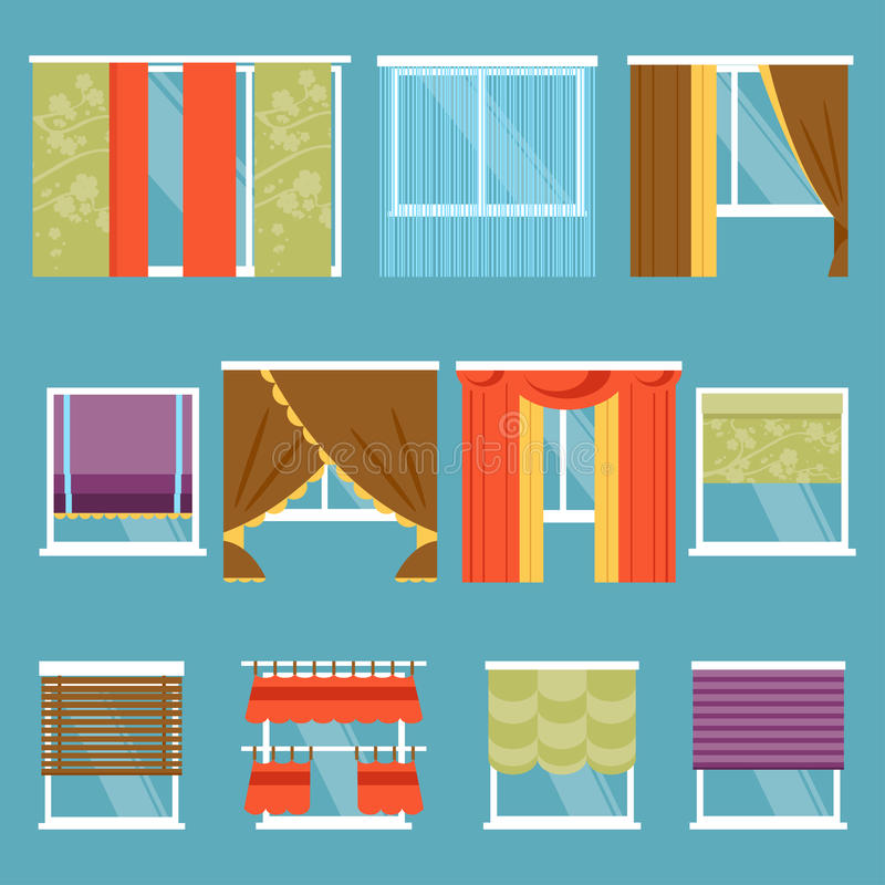 Types Of Curtains. Vector Illustration Stock Vector - Illustration ...