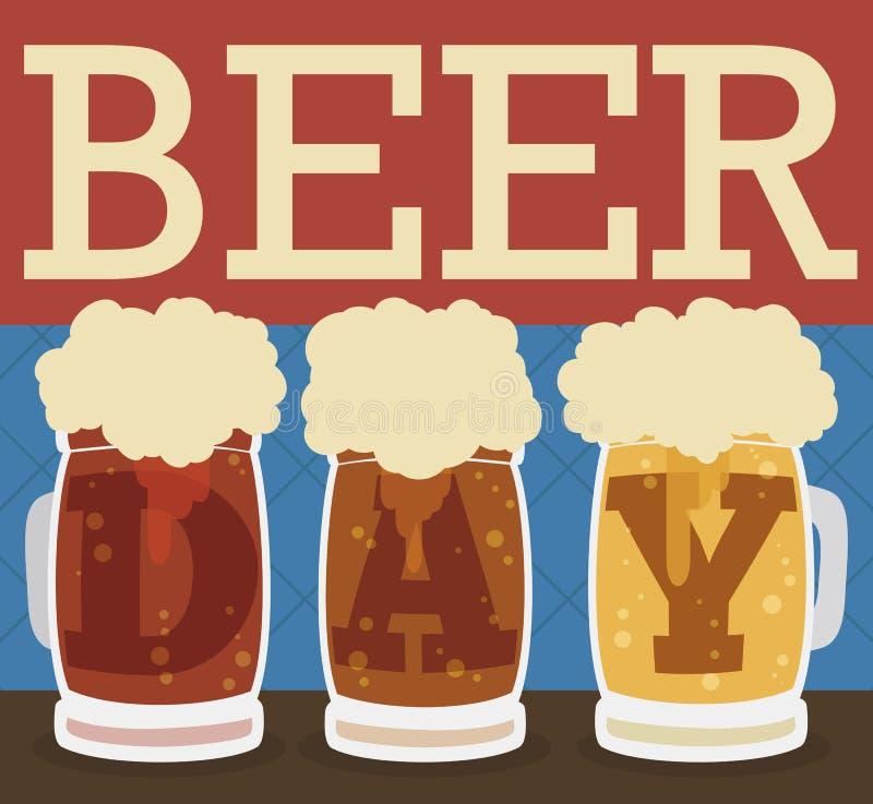 Types délicieux de bières dans le style plat pour le jour de bière, illustration de vecteur illustration de vecteur