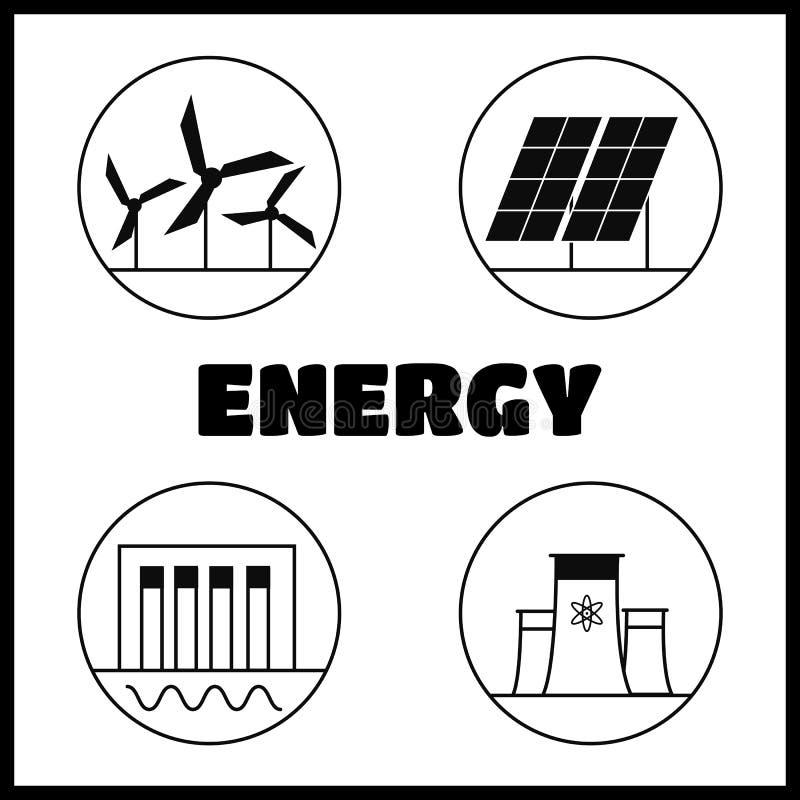 Types d'énergie de génération illustration stock