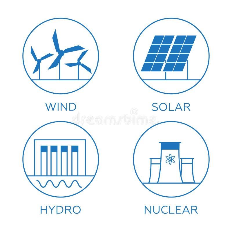 Types d'énergie de génération Icônes de centrale réglées illustration libre de droits