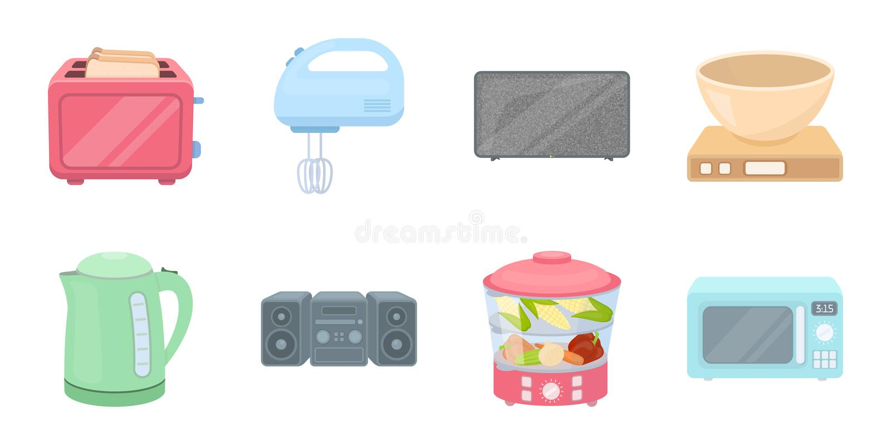 Types d'icônes d'appareils électroménagers dans la collection d'ensemble pour la conception Illustration de Web d'actions de symb illustration libre de droits