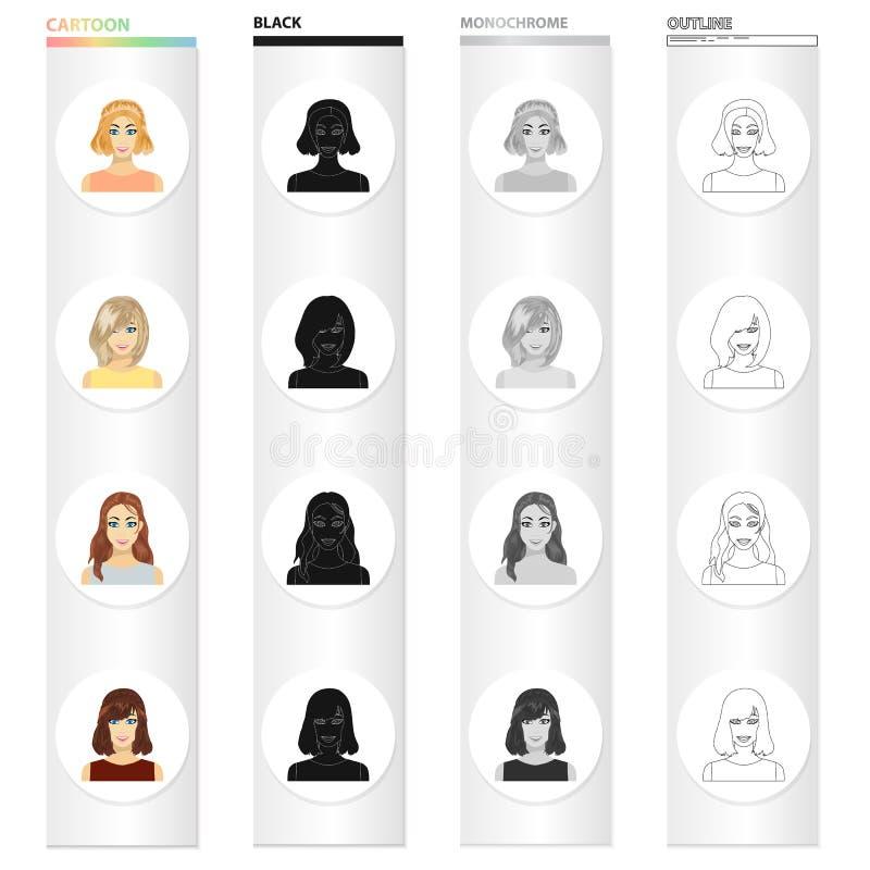 Types d'icônes femelles de bande dessinée de coiffures dans la collection d'ensemble pour la conception Aspect d'un Web d'actions illustration de vecteur