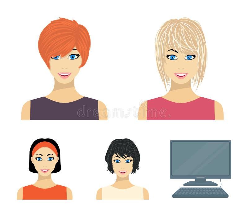 Types d'icônes femelles de bande dessinée de coiffures dans la collection d'ensemble pour la conception Aspect d'un Web d'actions illustration libre de droits